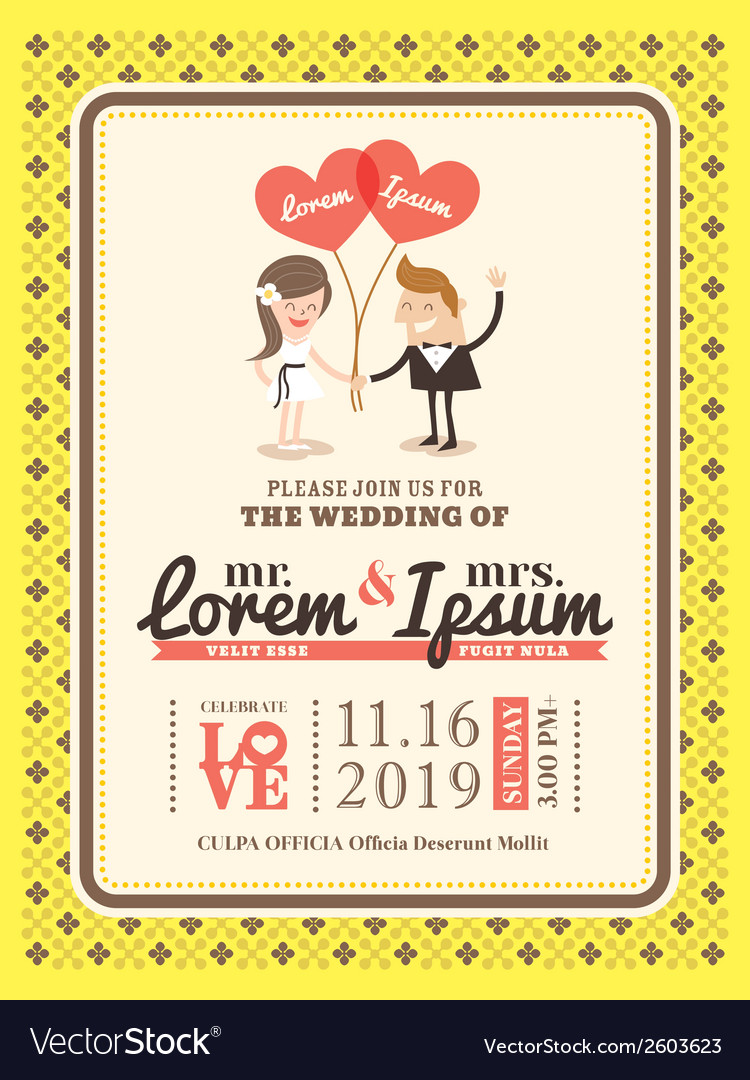 Groom and bride wedding invitation card template