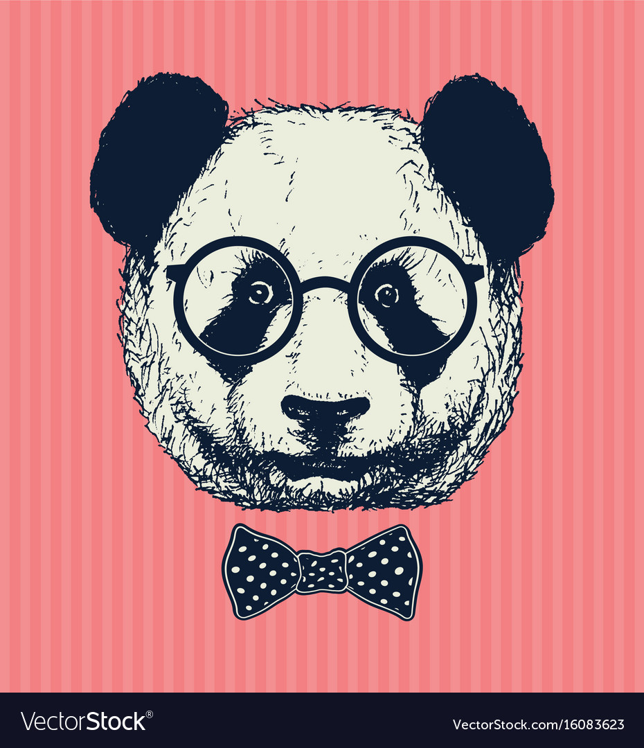 Hand drawn panda with sunglasses and bow tie