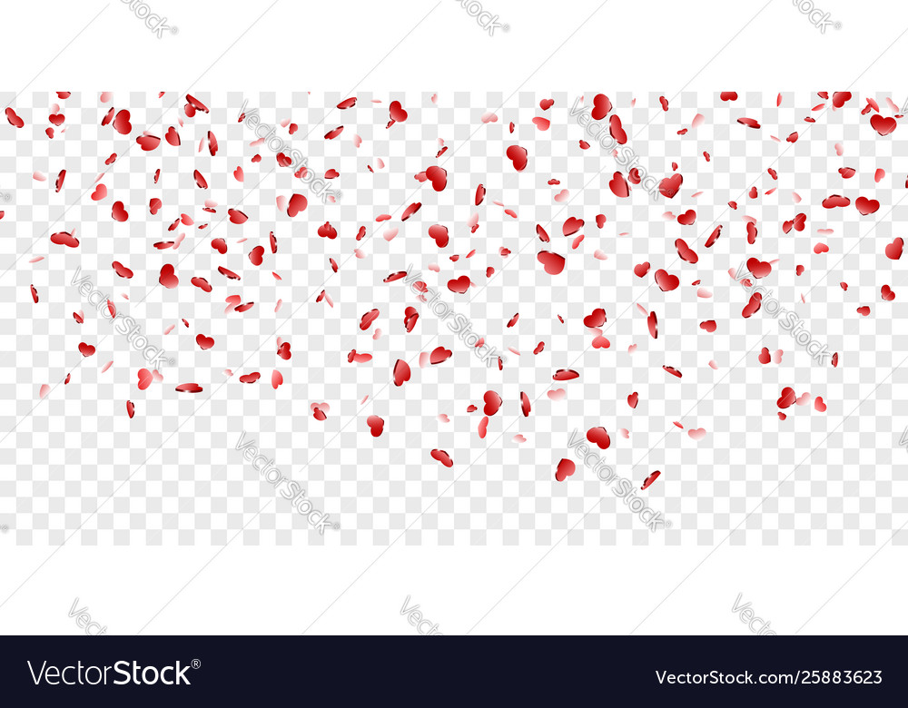 Heart falling confetti isolated white transparent