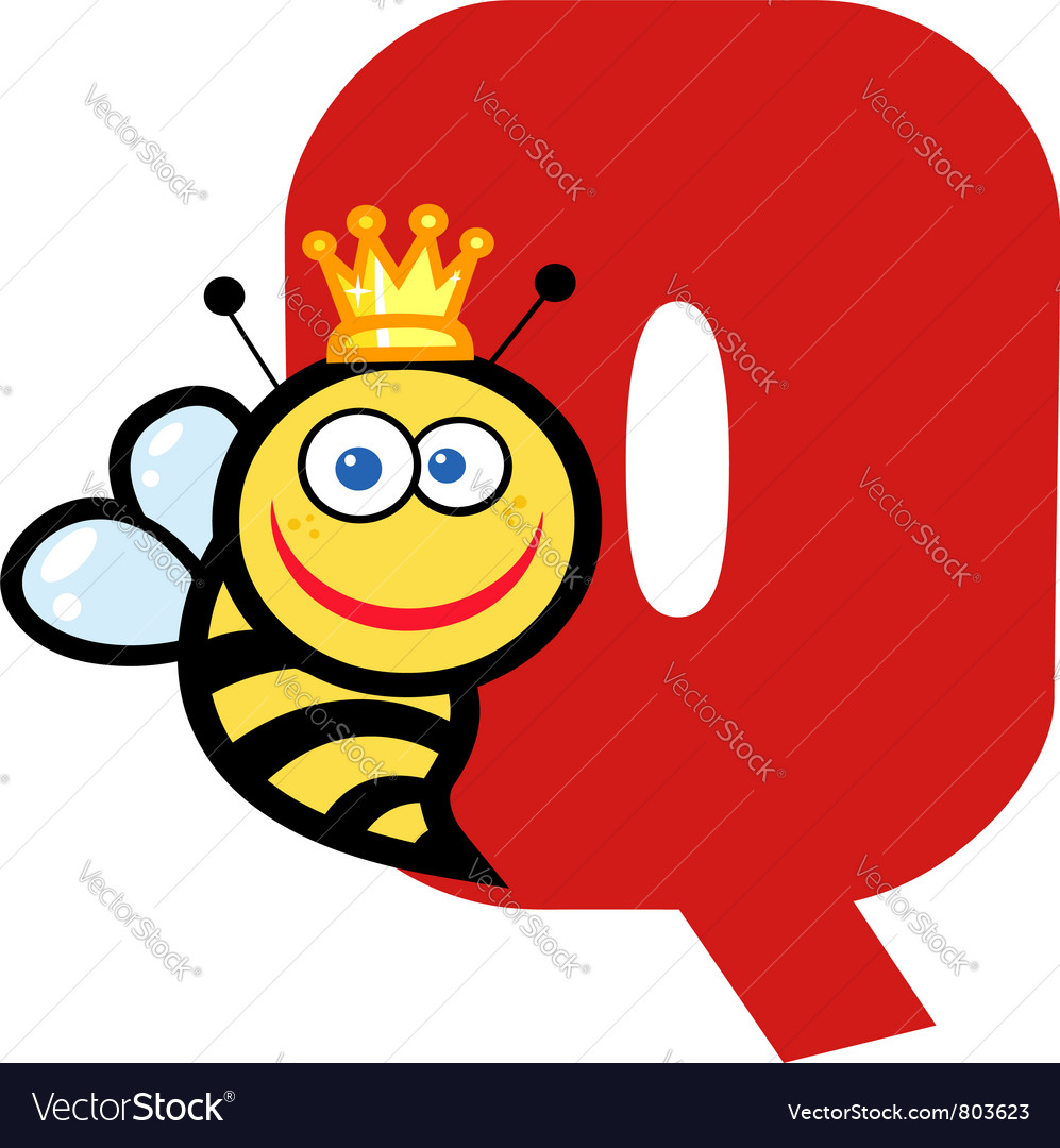 letter q with a queen bee royalty free vector image
