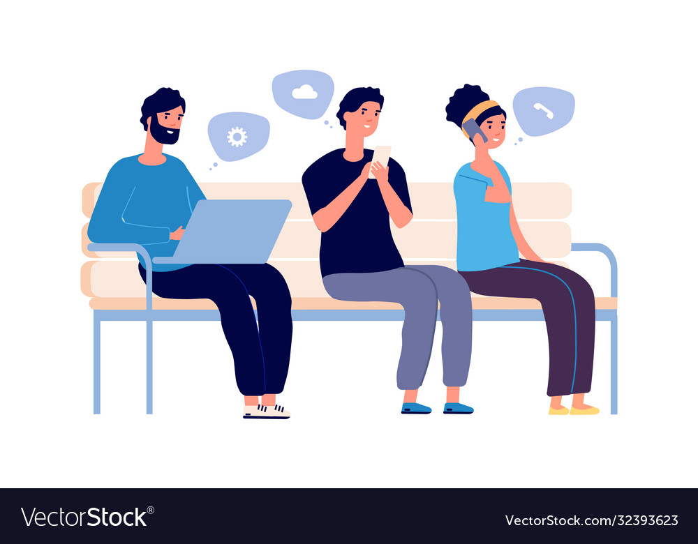 People chatting woman man using smartphones and