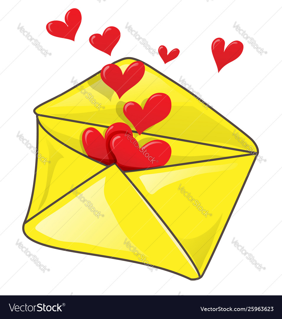 Romantic envelope with many heart clip-art