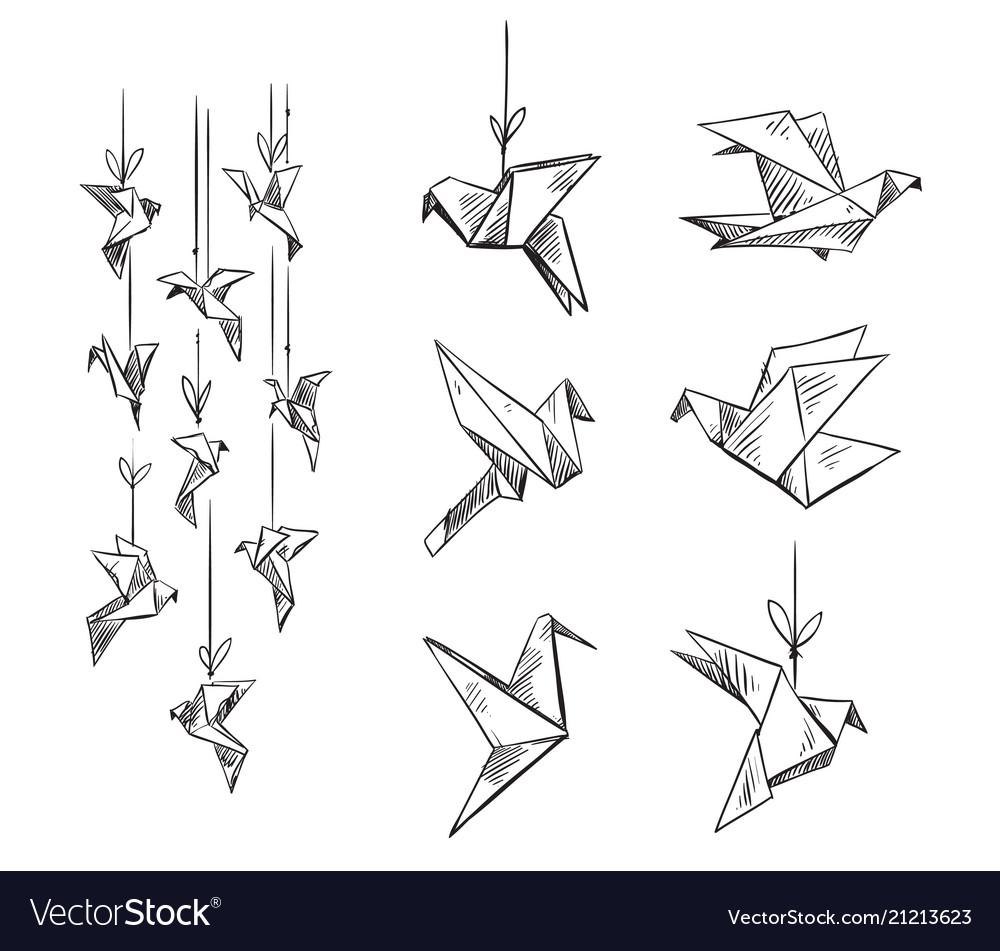 Set of origami birds sketch