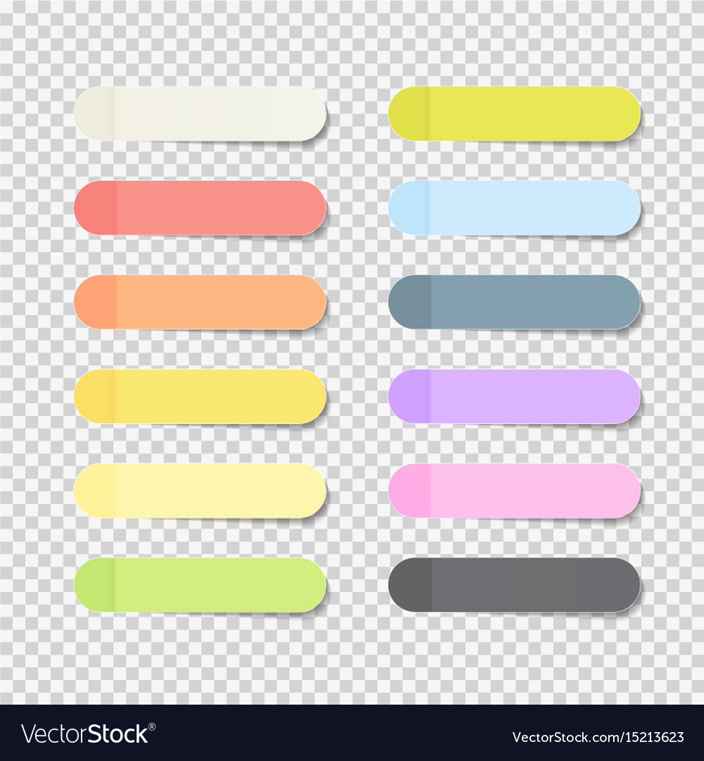 Sticky office paper sheets notes pack collection vector image