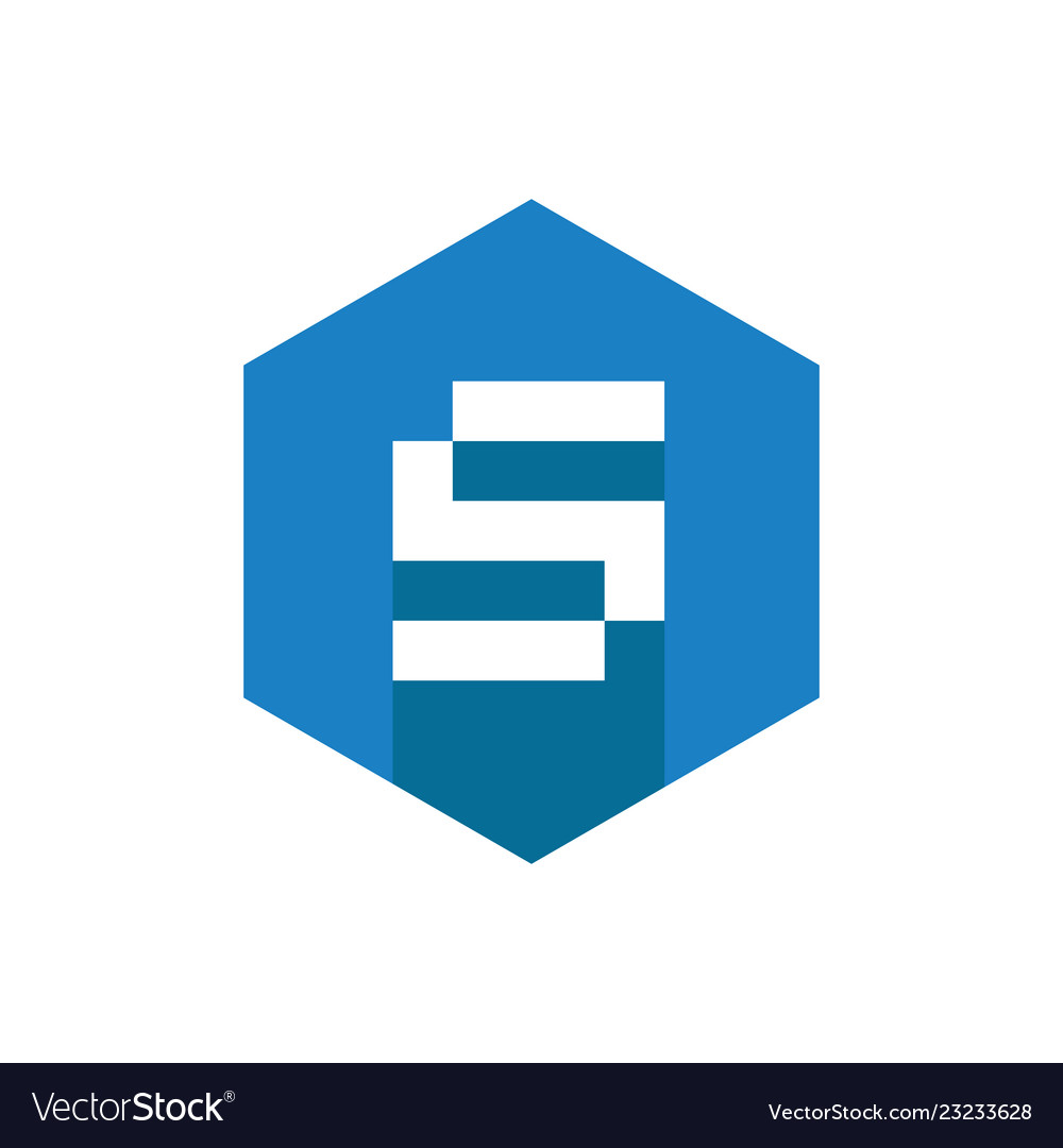 Abstract letter s logo flat design style