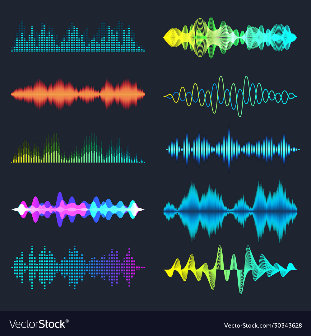 Colored sound waves collection analog and digital