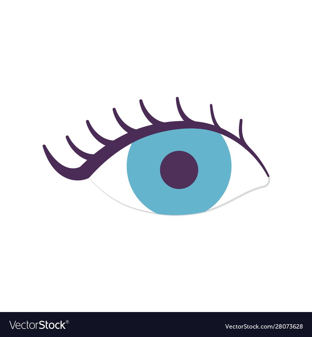 Female eye eyelashes icon on white background