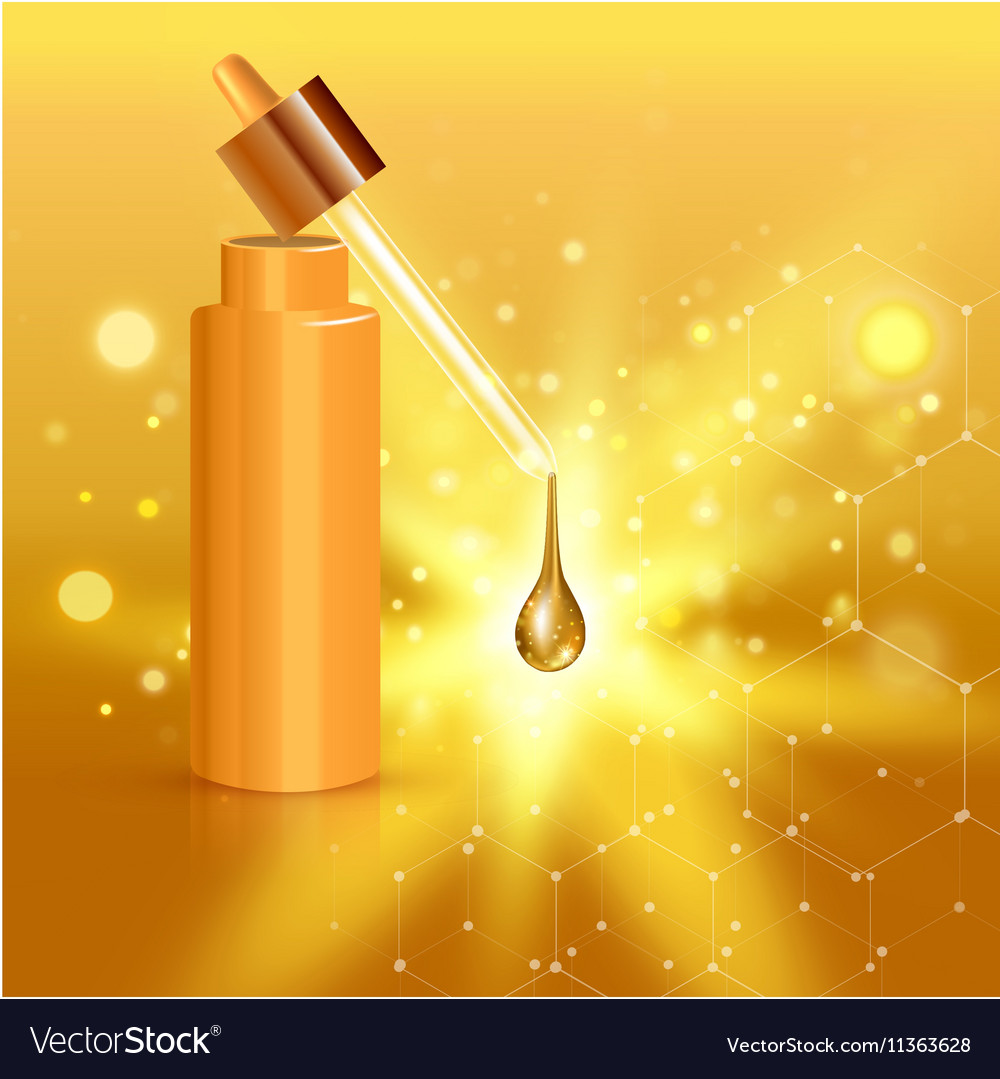 Gold realistic cosmetic tube poster with collagen