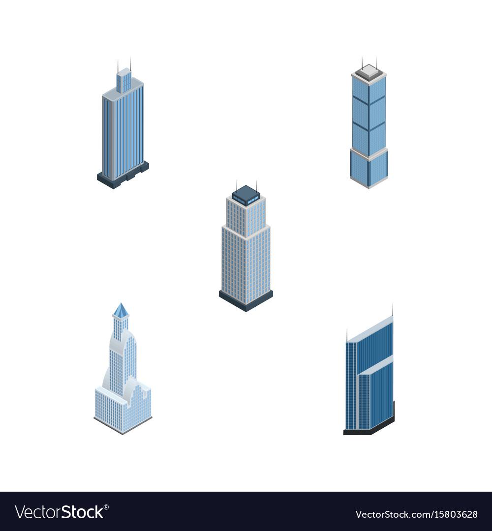 Isometric skyscraper set of cityscape tower vector image