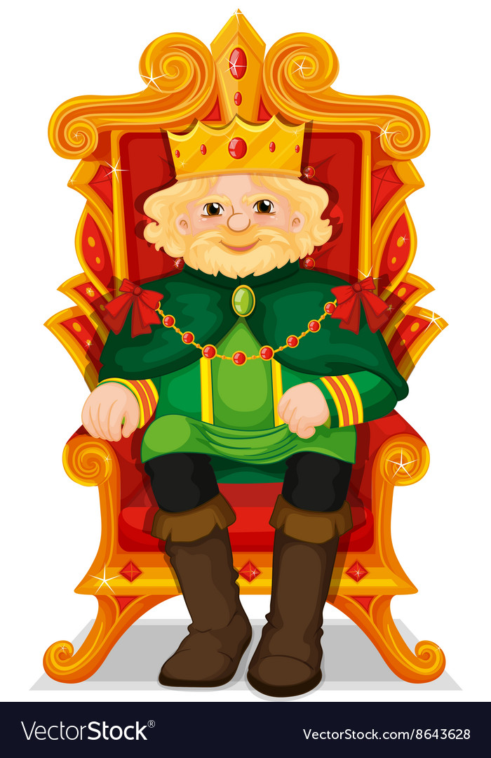 King sitting in the throne vector image