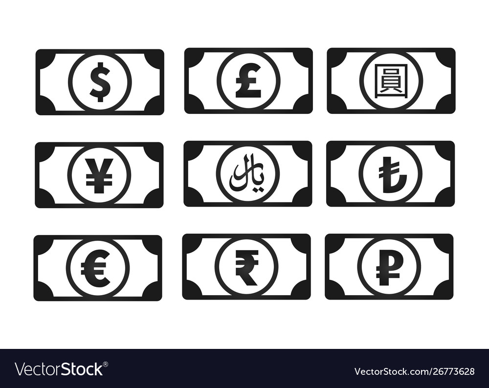 Money banknotes with common currency signs like us