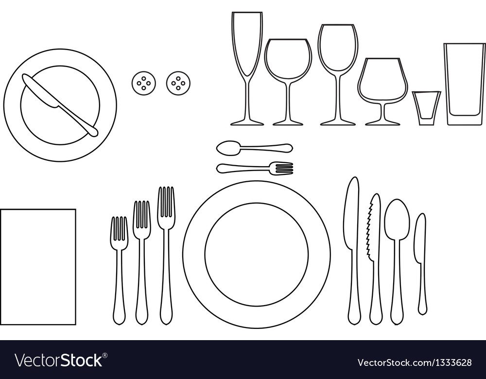 Outline silhouette of tableware vector image