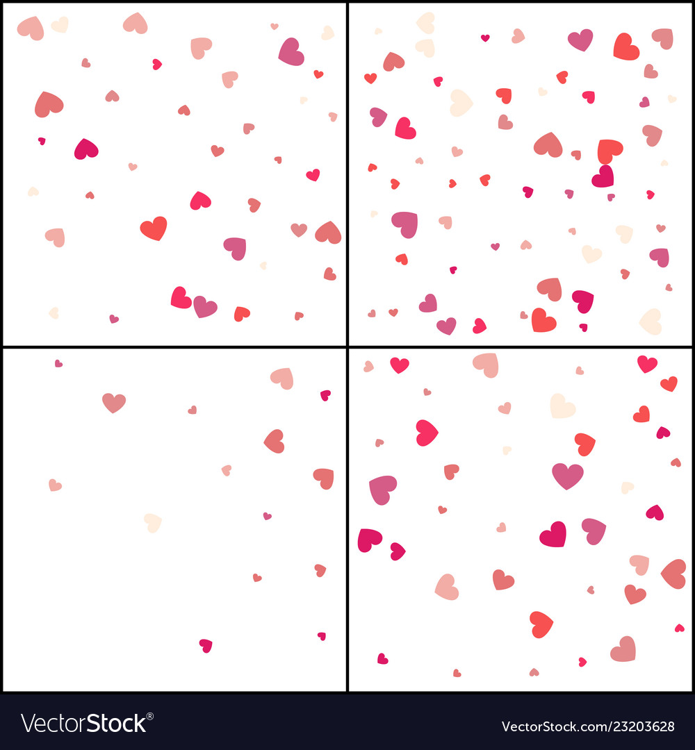 Red hearts confetti celebration falling pink