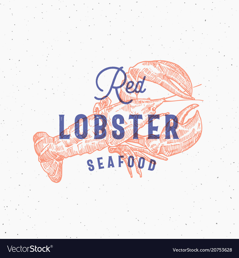 Red lobster seafood retro print effect card