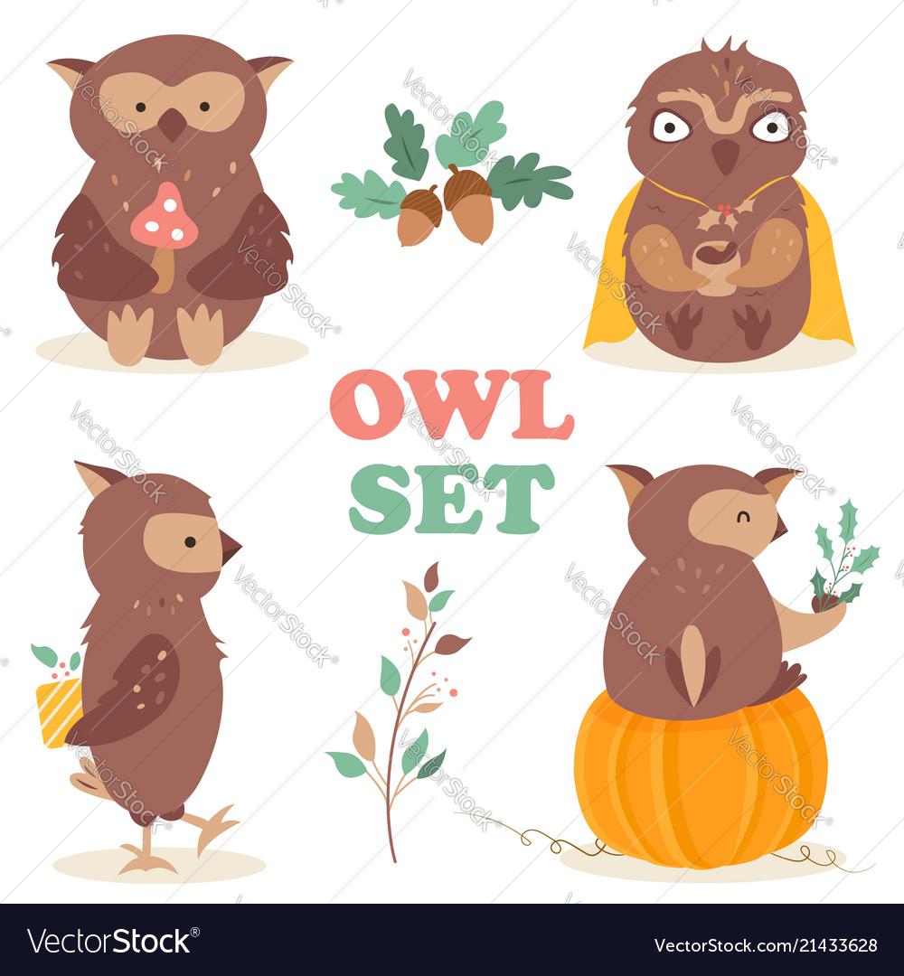 Set with four funny cartoon owls
