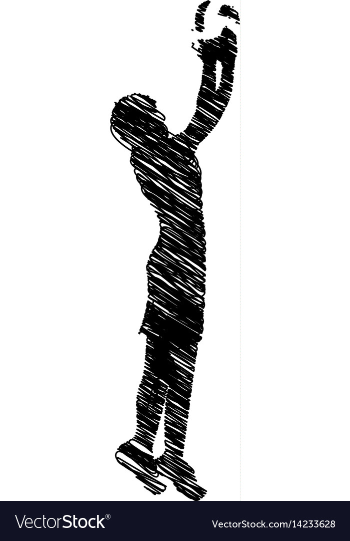 Silhouette drawing man playing volleyball