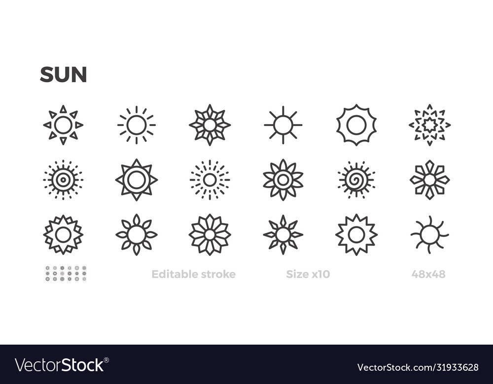 Sun icon set sunny weather warm star symbol
