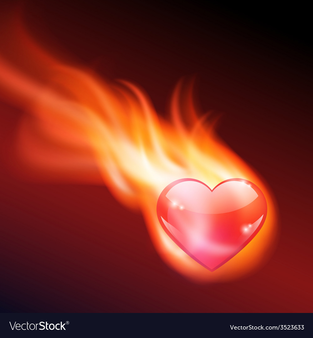 Abstract background with burning heart
