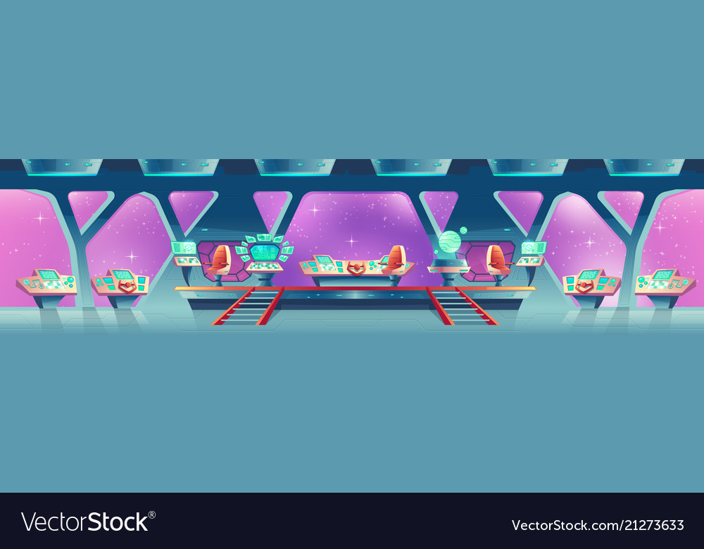 Background with interior of spaceship