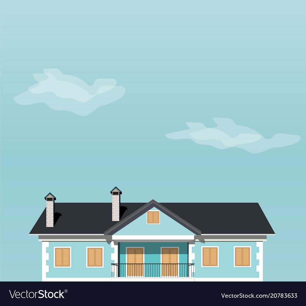 Blue house against the sky