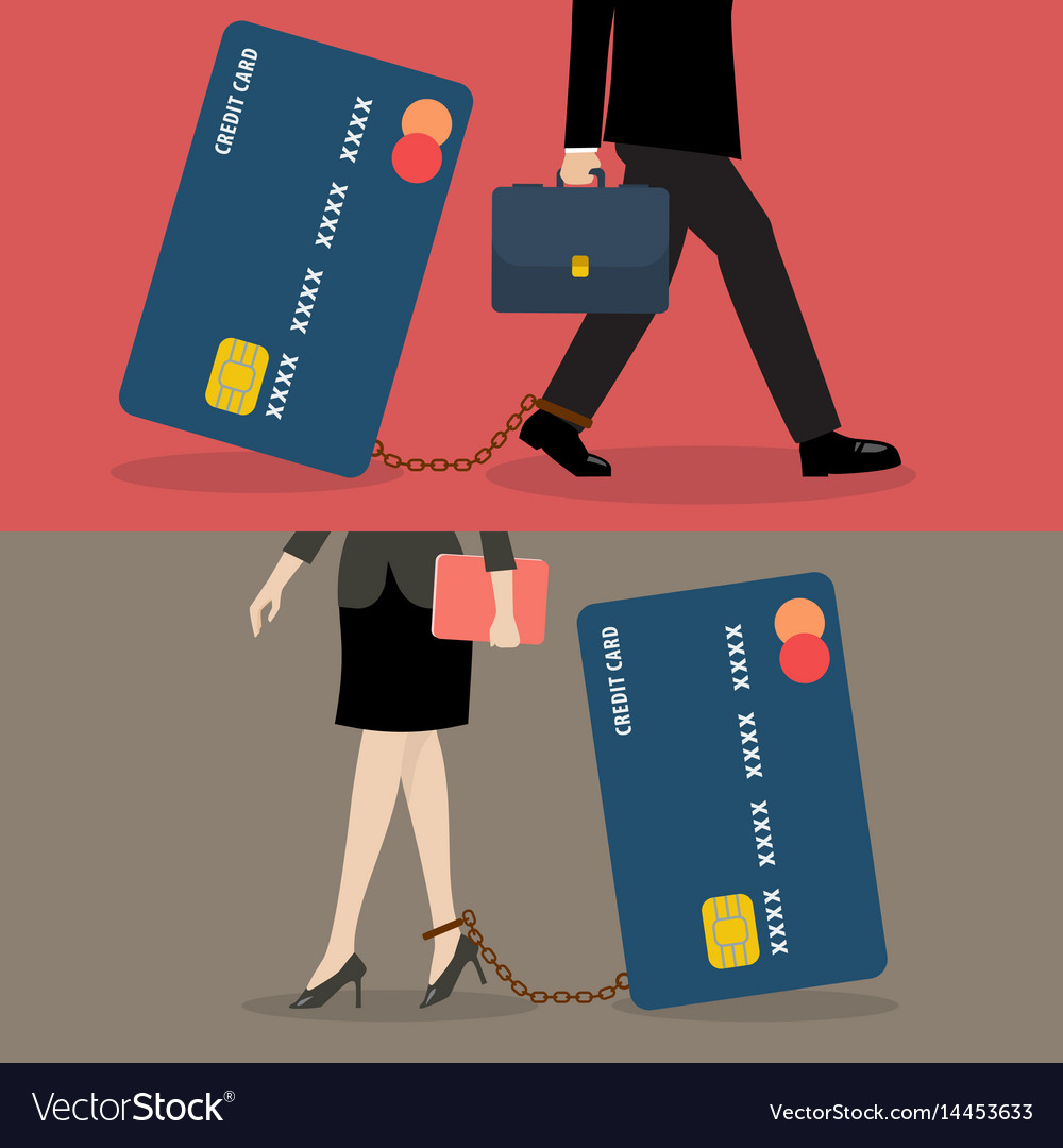 Business man and business woman with credit card