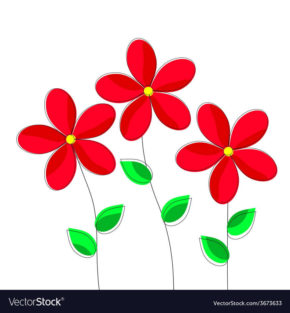 Cartoon Red Flowers On White Background Royalty Free Vector