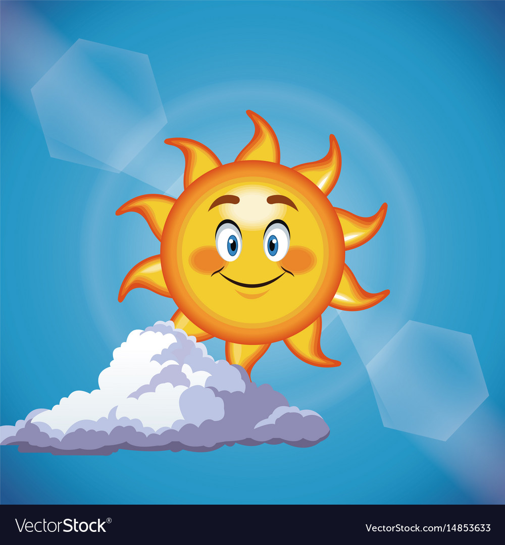 Character sun smiling cute face - cartoon in the vector image