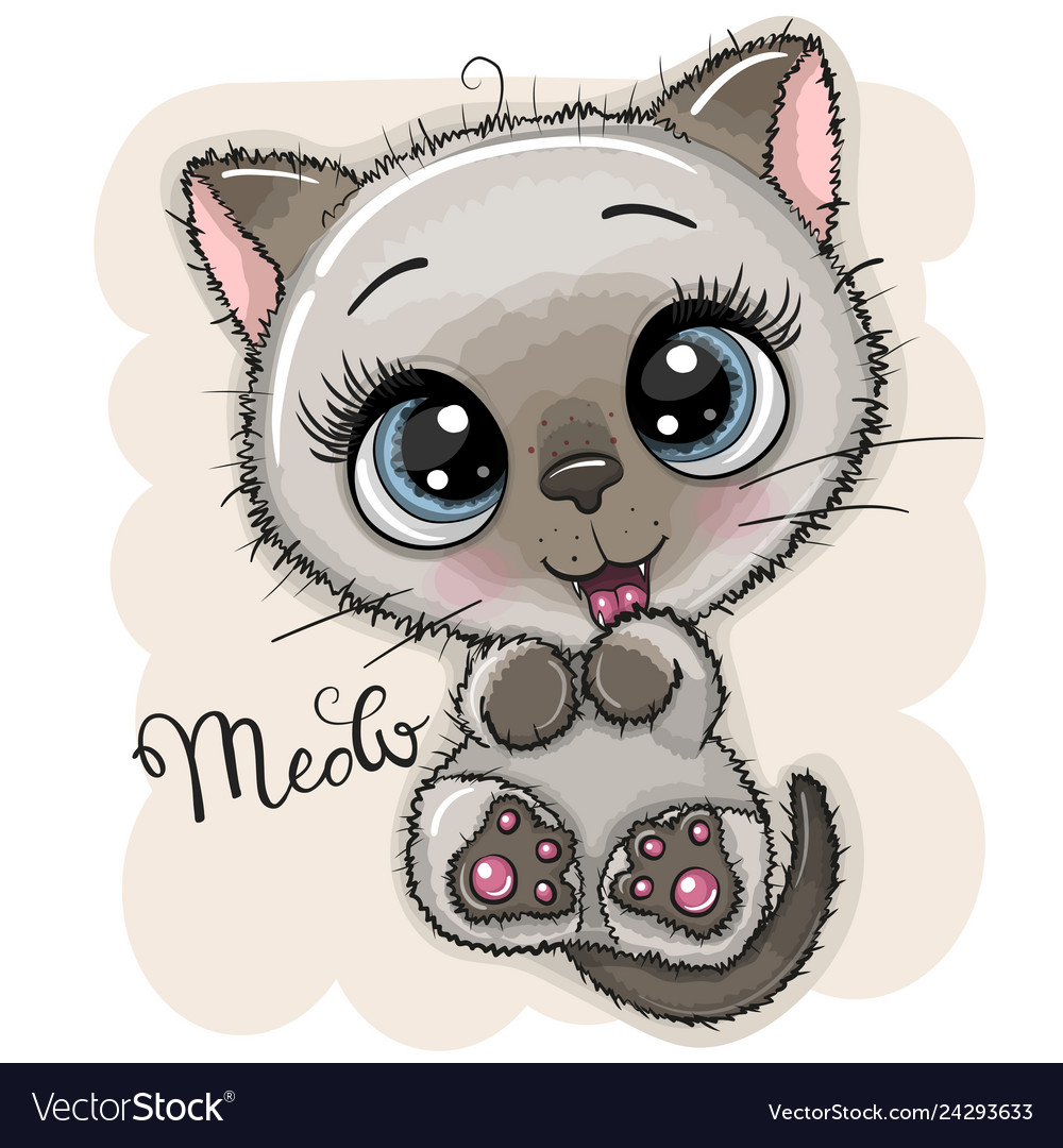 Cute Cartoon Kitten With Big Eyes Royalty Free Vector Image