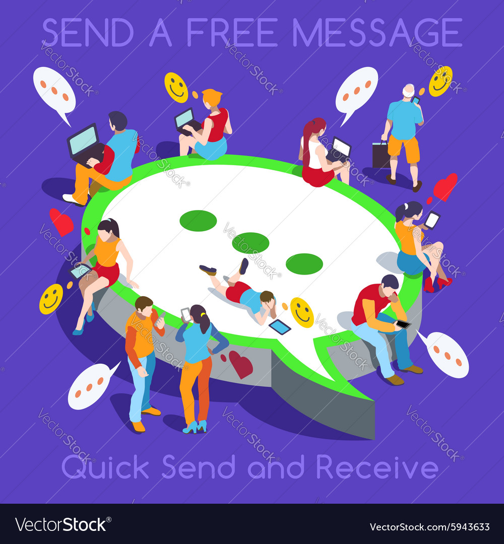 Free Chat Set People Isometric vector image