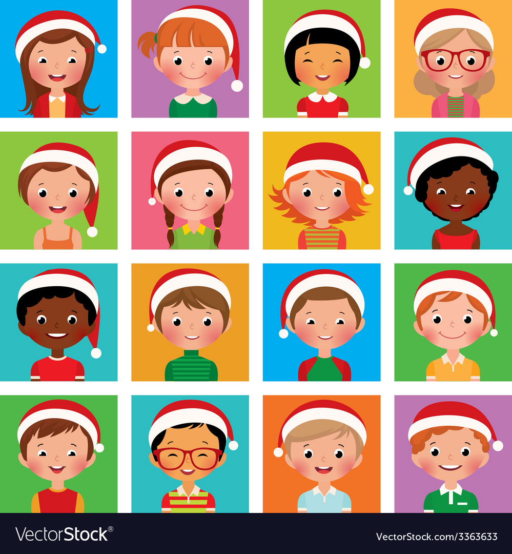 Icon set portraits of boys and girls in the Santa