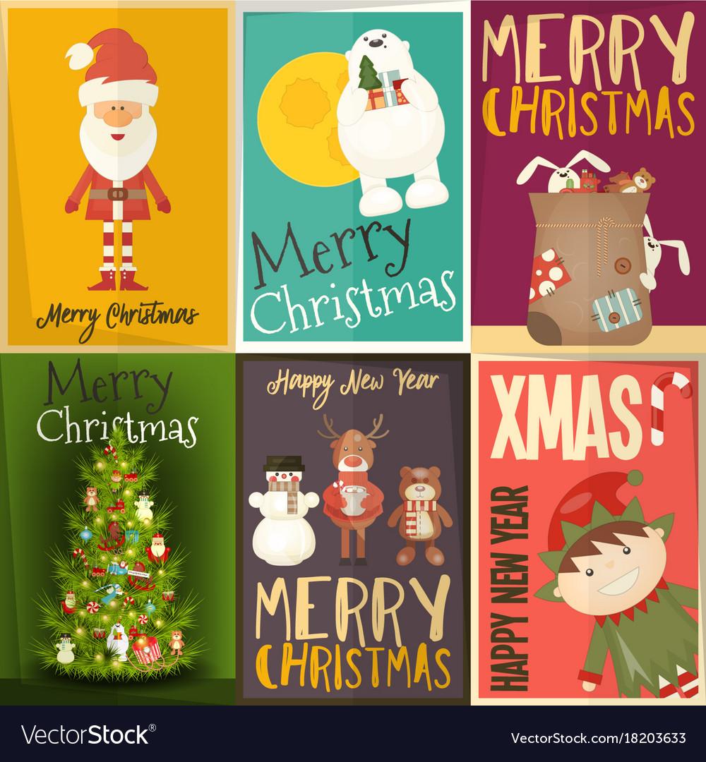 Christmas Posters.Merry Christmas Posters Set