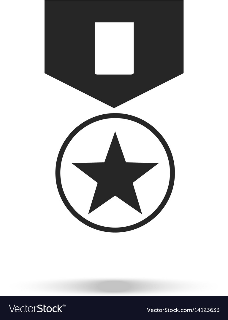 Military medal icon medal with star and ribbon vector image