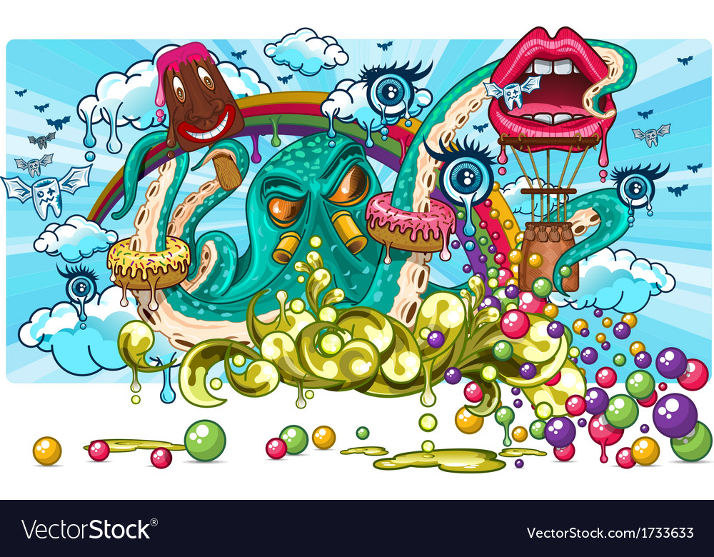 Octopus candy fantasy vector image