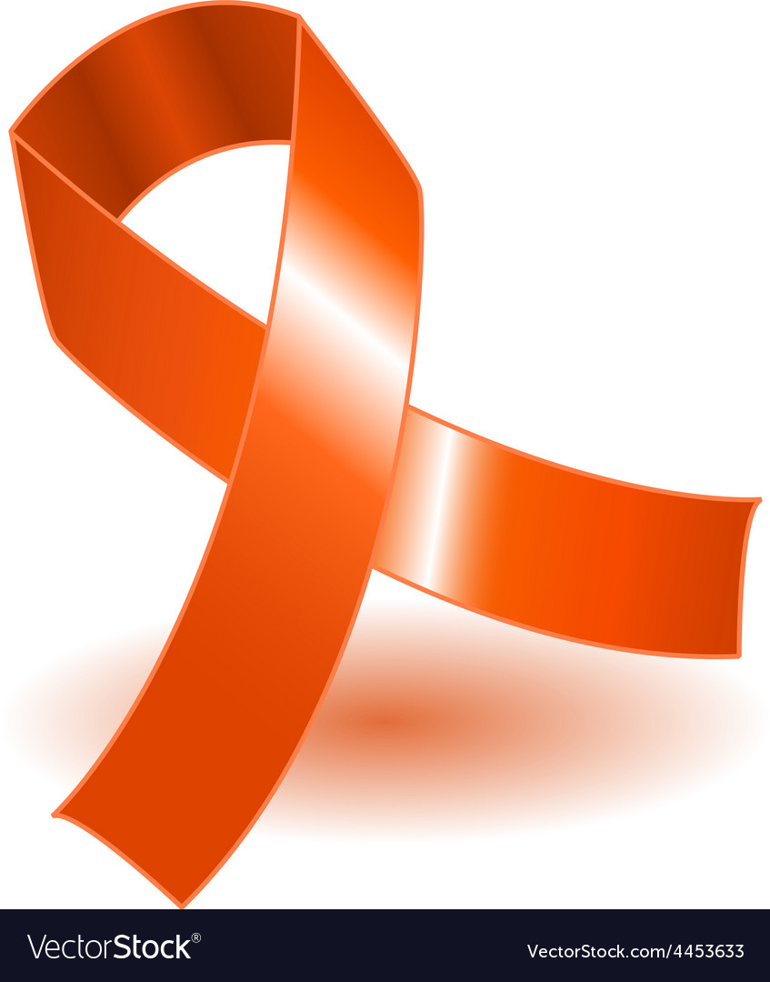 194ba107689 Orange awareness ribbon and shadow Royalty Free Vector Image