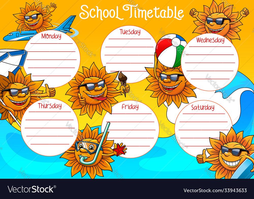 School timetable template education schedule plan