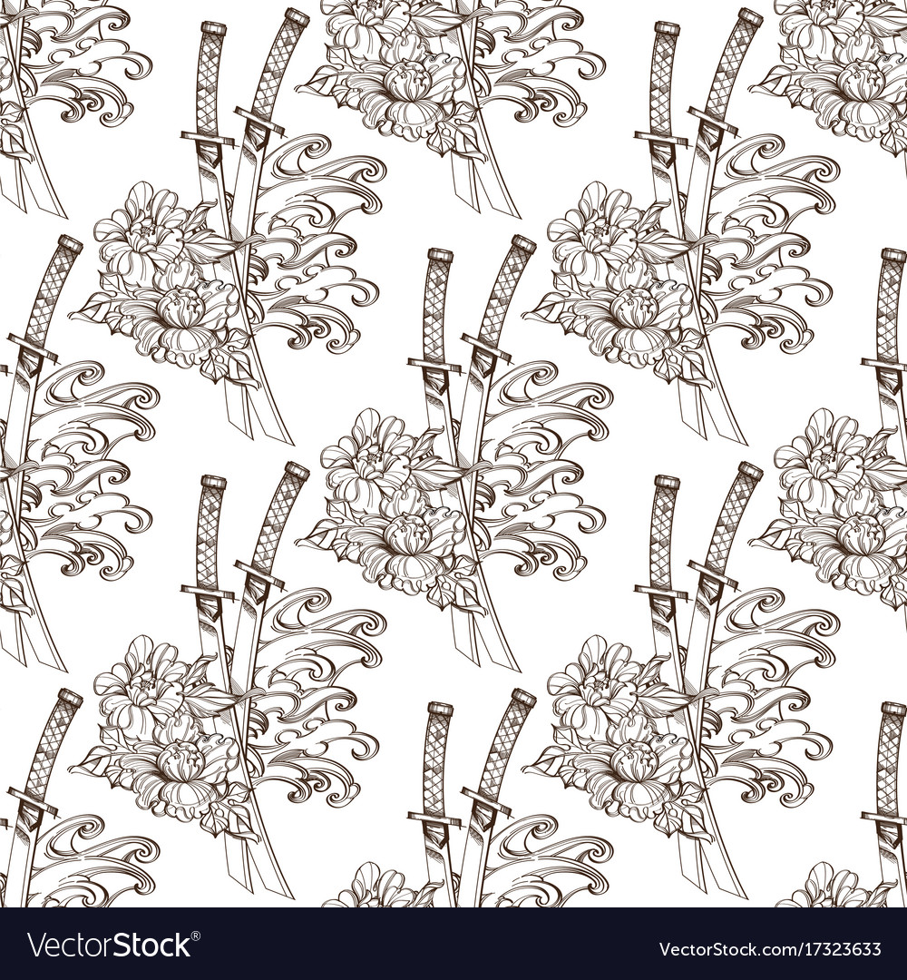 Seamless pattern from contour drawings of katans