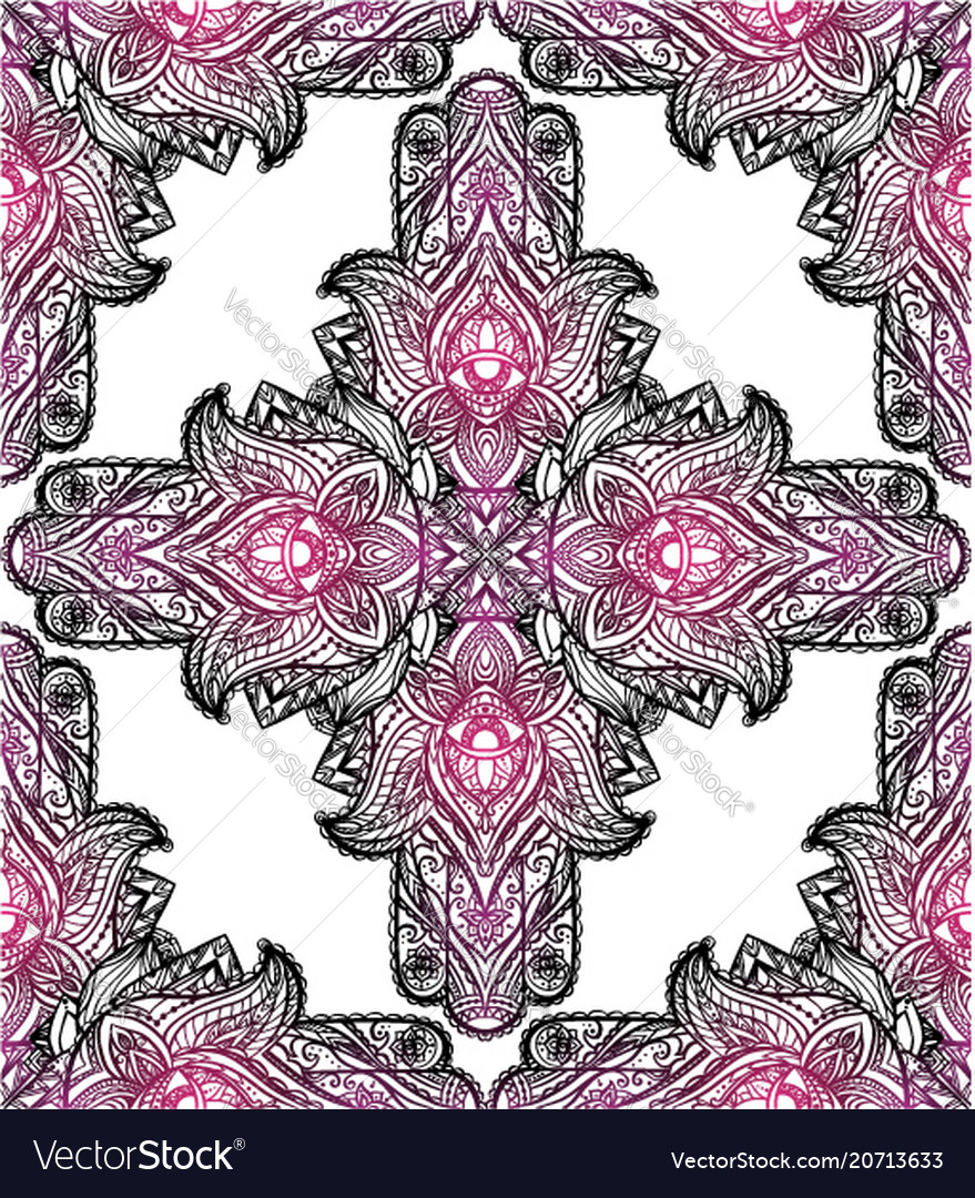 Seamless texture with a hamsa and boho pattern on