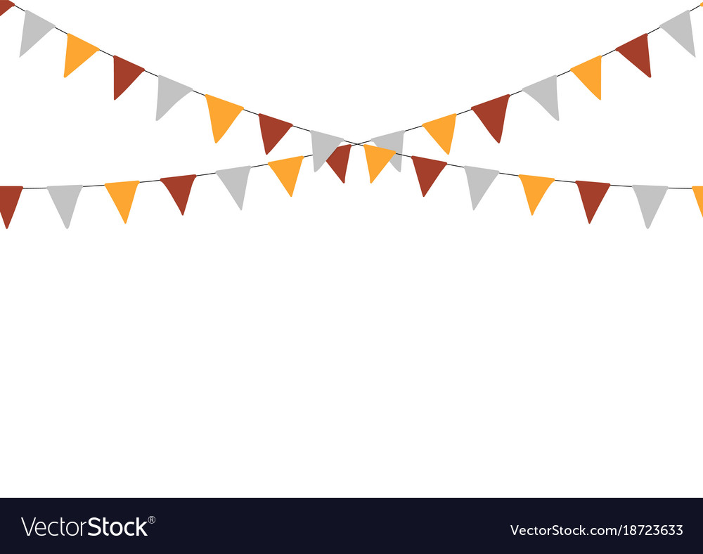 Thanksgiving bunting flags holiday decorations vector