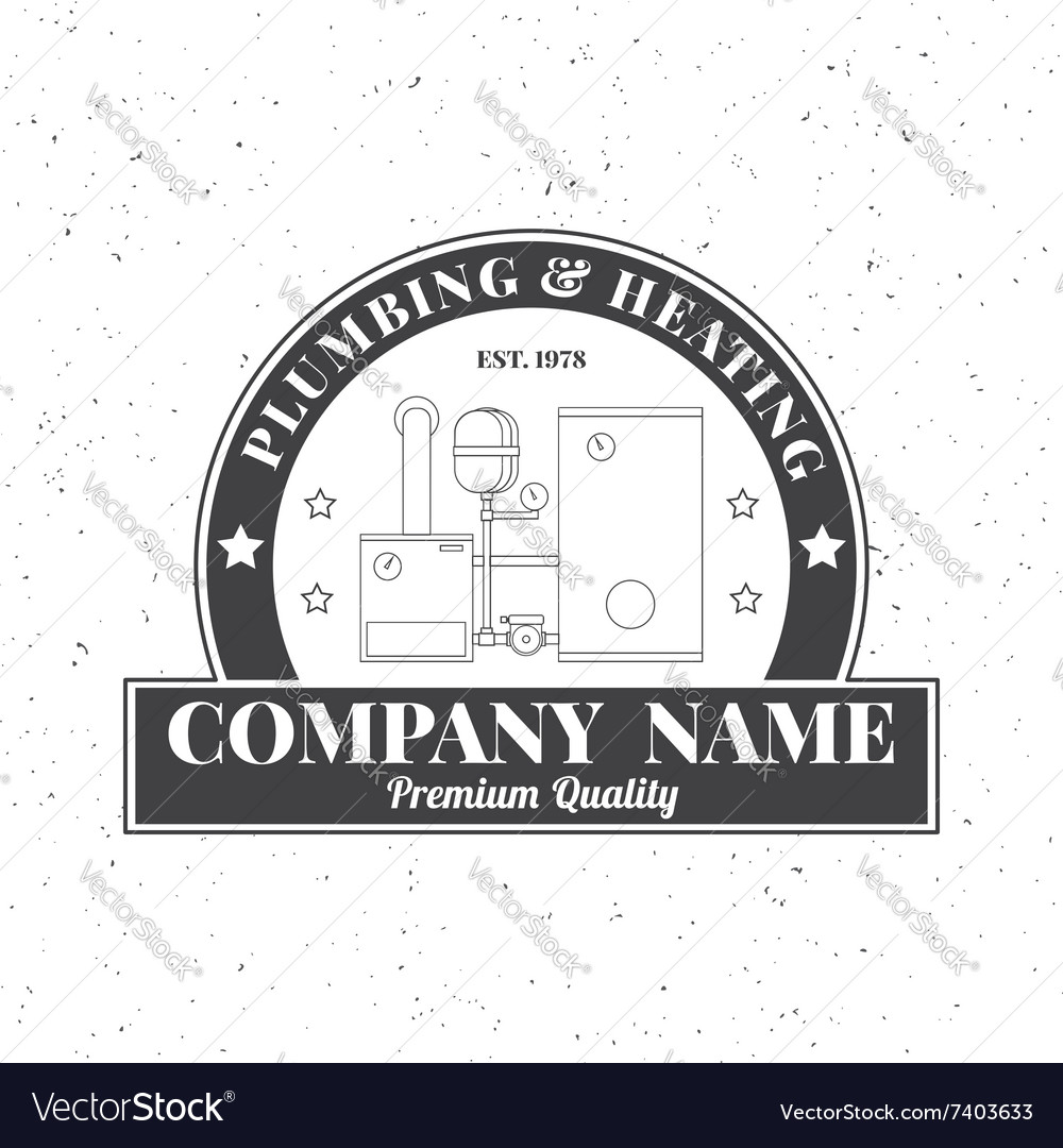 Vintage Plumbing Heating Services logo labels and Vector Image
