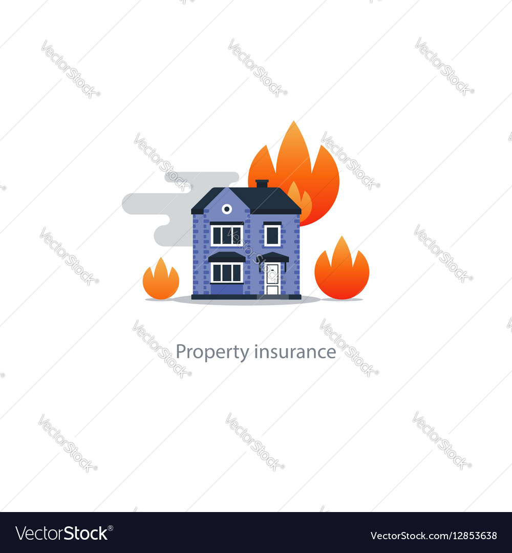 Burning building fire insurance safety concept vector image