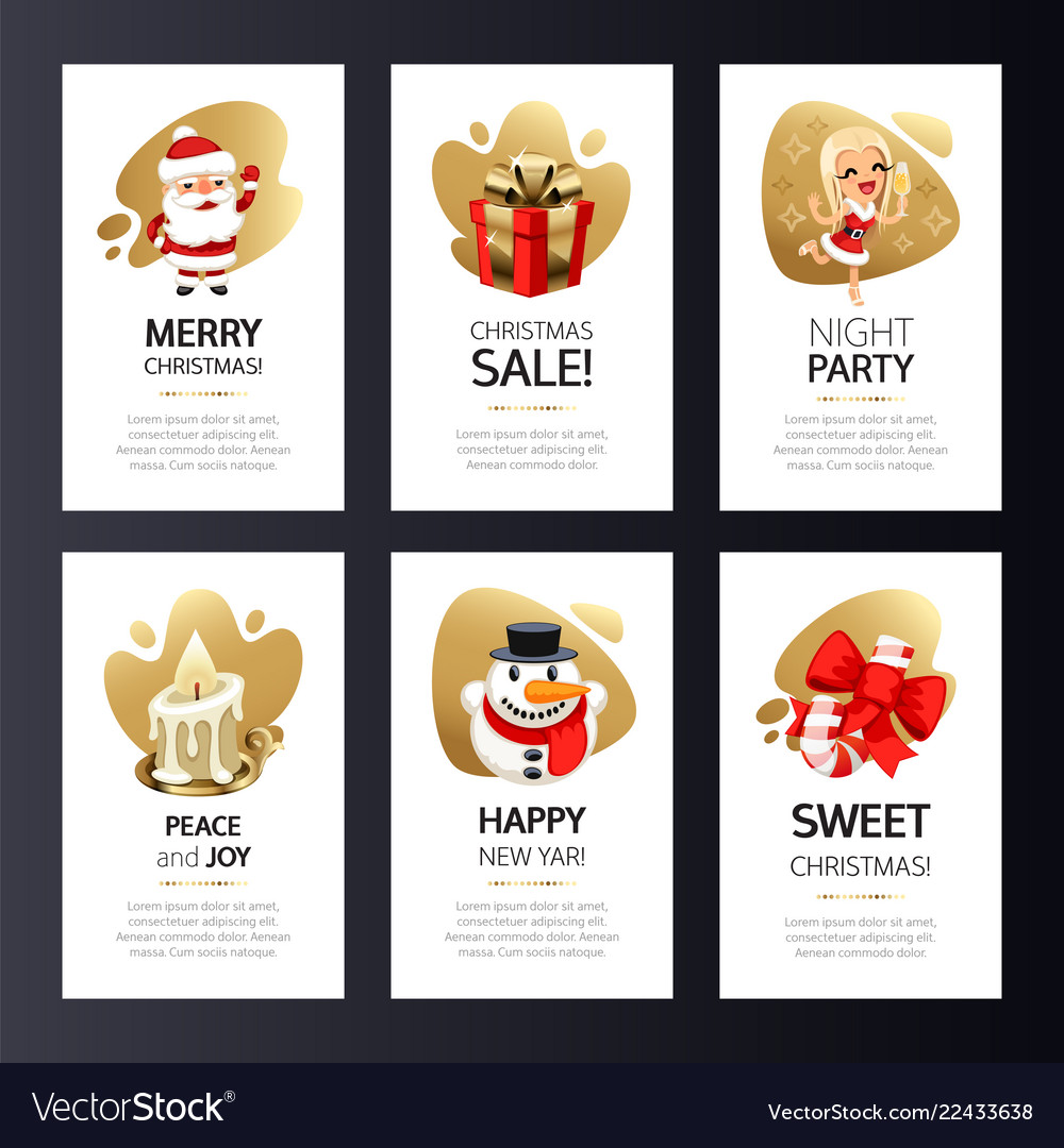 Christmas greeting cards set with gold
