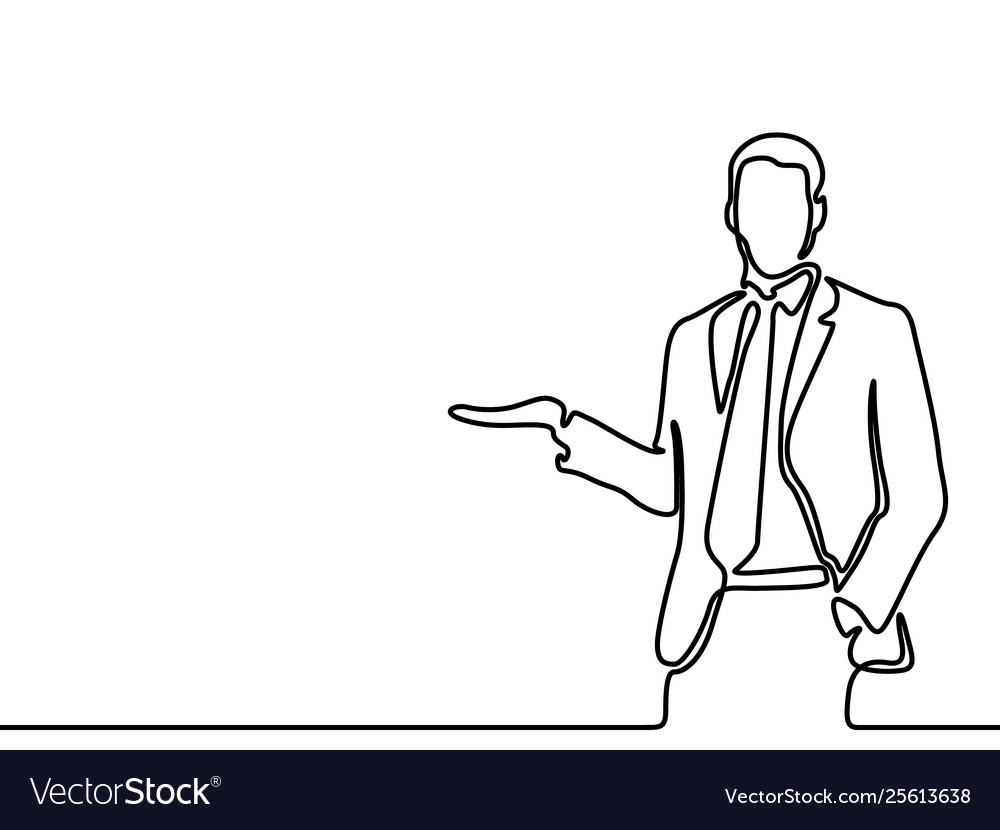 Continuous line drawing businessman tells and