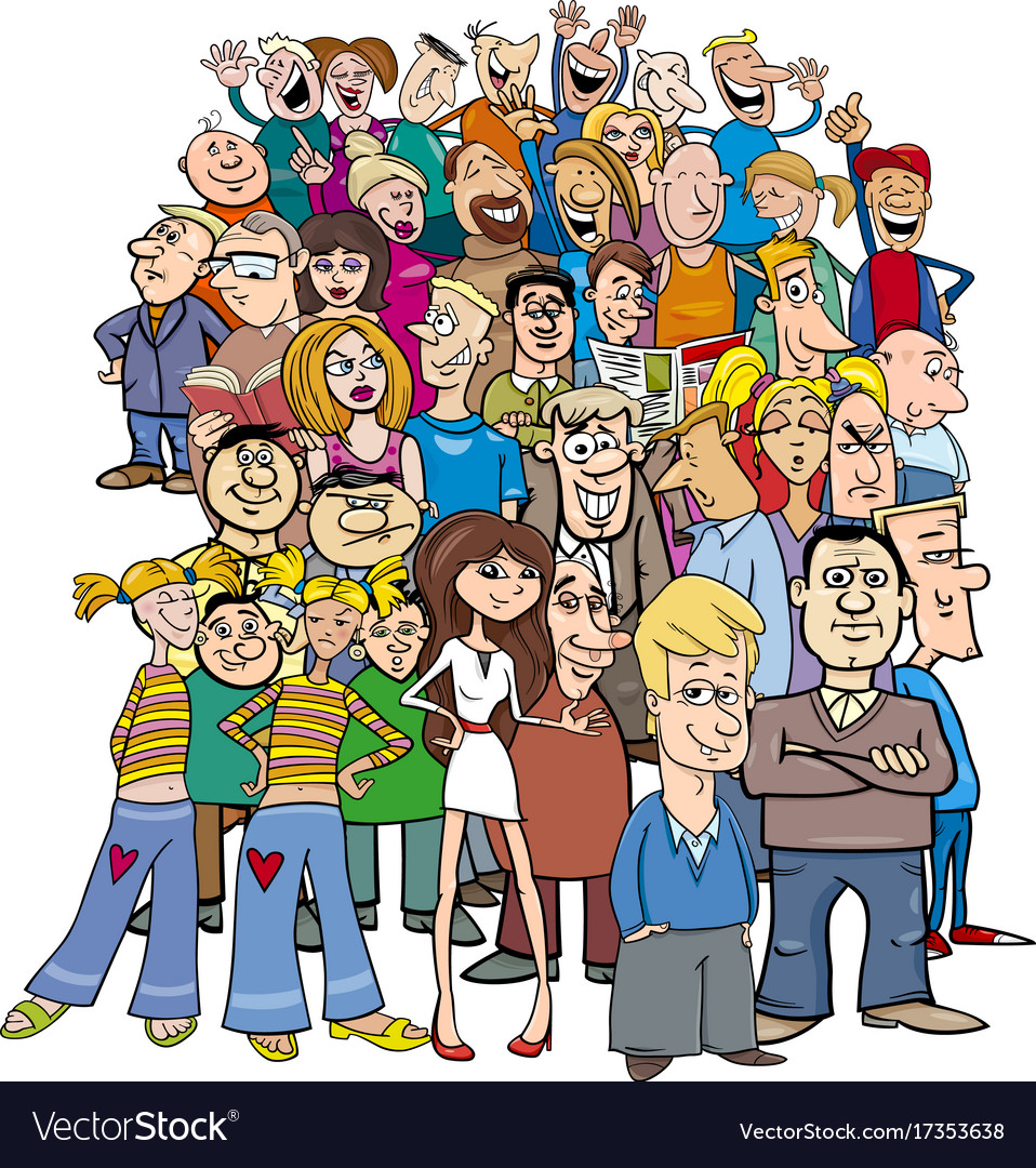 Crowd of cartoon people characters Royalty Free Vector Image