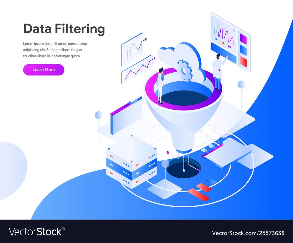 Data filtering isometric concept modern flat