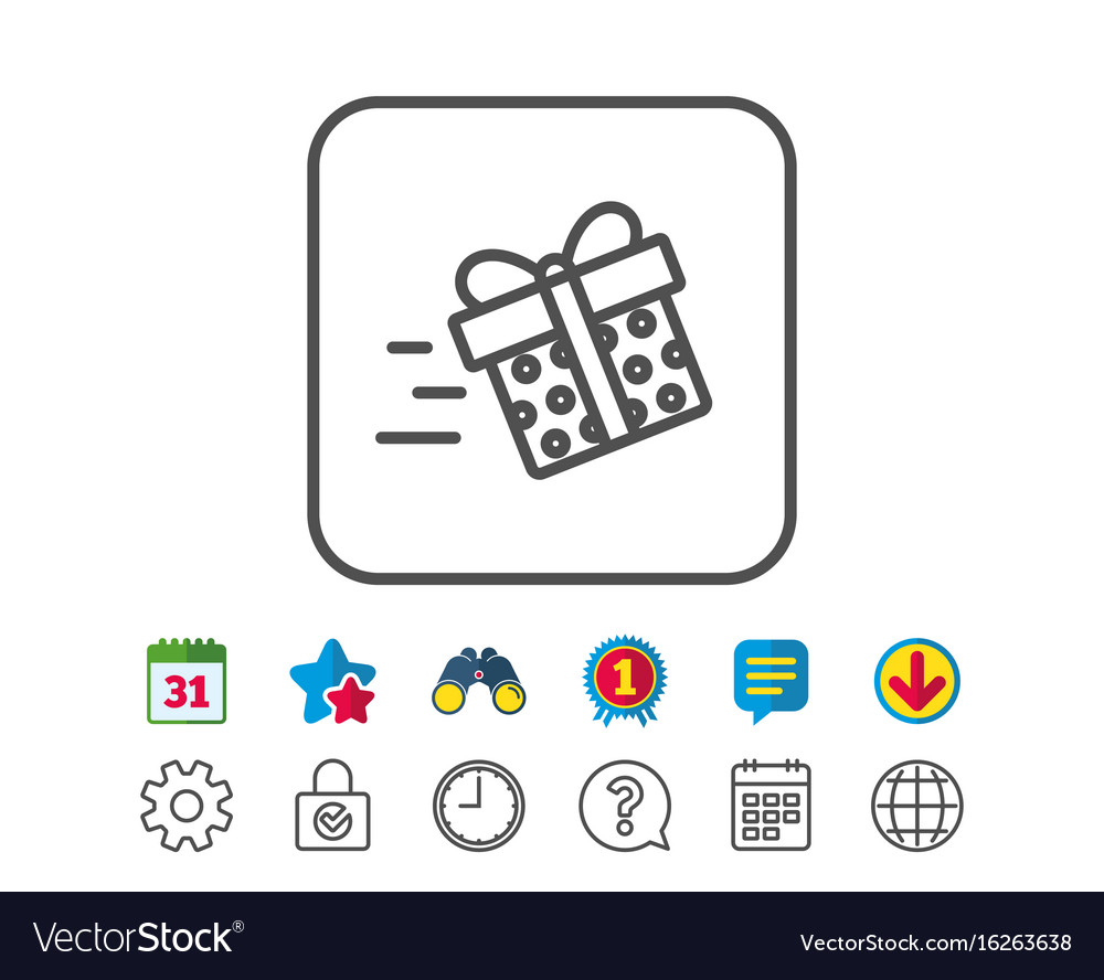 Gift Box Delivery Line Icon Present Sign Vector Image