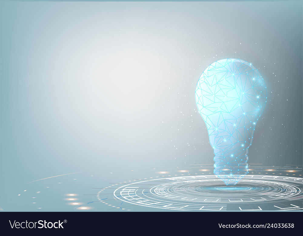 Light bulb low poly design with connecting