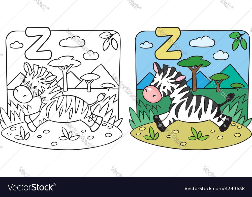 Little Zebra coloring book Alphabet Z Royalty Free Vector