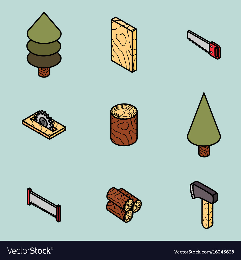 Lumberjack flat outline isometric set