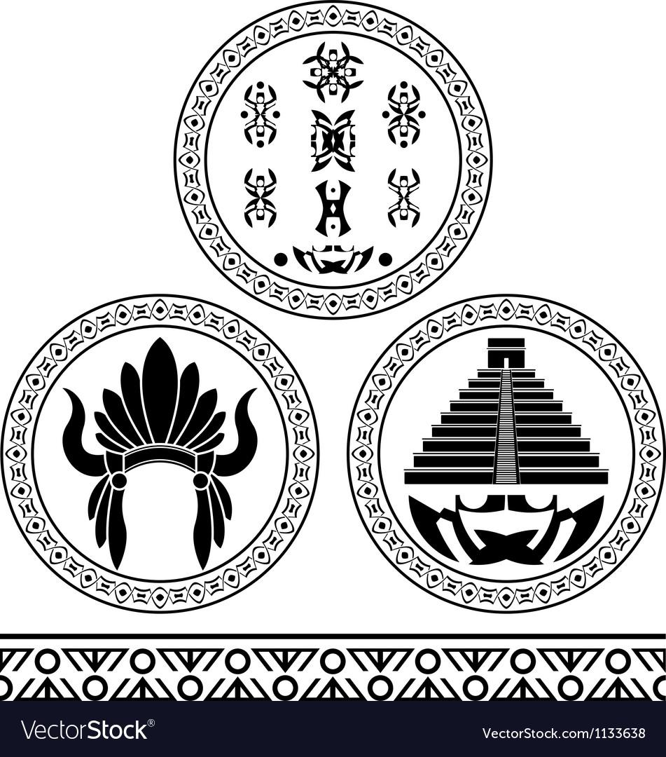 Mayan Signs Headdress Pyramid And Pattern Stencils