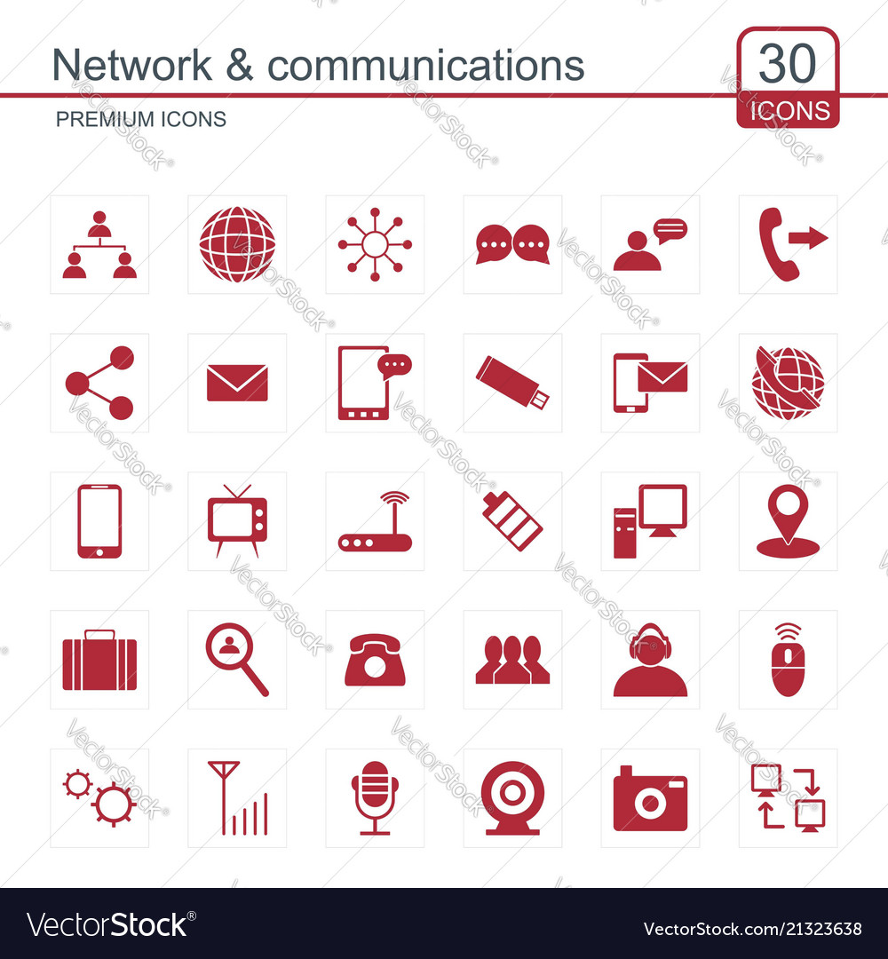 Network and communication icons set